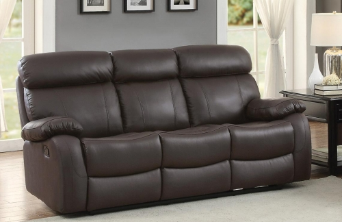 Pendu Double Reclining Sofa - Top Grain Leather Match - Brown