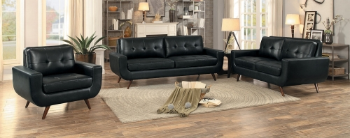 Deryn Sofa Set - Black Leather Gel Match