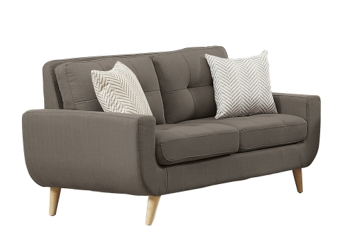 Deryn Love Seat - Polyester - Grey