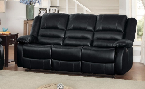 Jarita Double Reclining Sofa - Bi-Cast Vinyl - Black