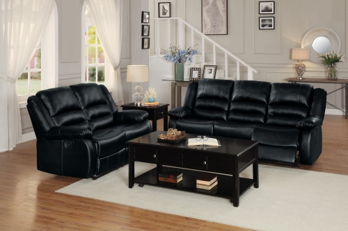 Jarita Reclining Sofa Set - Bi-Cast Vinyl - Black