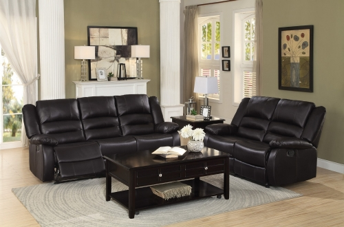 Jarita Reclining Sofa Set - Bi-Cast Vinyl - Brown