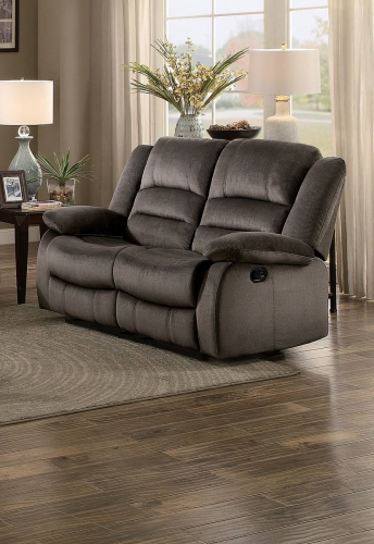Jarita Double Reclining Love Seat - Chocolate Fabric