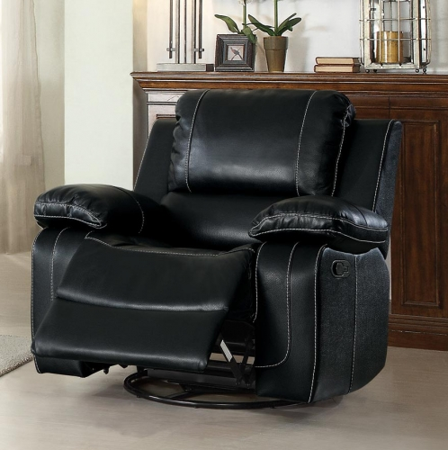 Oriole Swivel Glider Reclining Chair - Faux Leather - Black