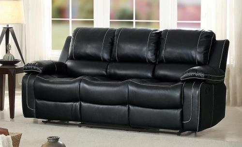 Oriole Double Reclining Sofa with Center Drop-Down Cup Holders - Faux Leather - Black