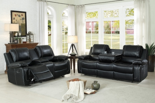 Oriole Reclining Sofa Set - Faux Leather - Black