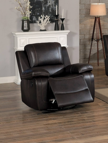 Oriole Swivel Glider Reclining Chair - Dark Brown AireHyde Match