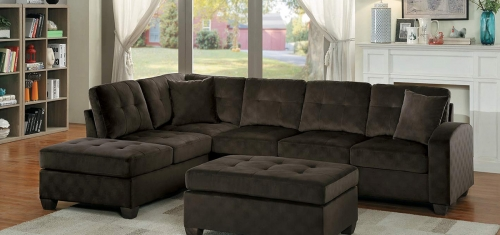 Emilio Reversible Sectional Sofa - Chocolate Fabric