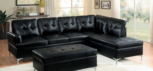 Barrington Sectional Sofa - Black Bi-Cast Vinyl