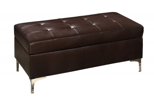 Homelegance Barrington Ottoman - Brown Bi-Cast Vinyl