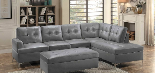 Barrington Sectional Sofa - Gray Bi-Cast Vinyl
