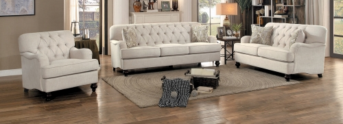 Clemencia Sofa Set - Natural Tone Fabric