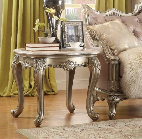 Fiorella End Table - Silver/Gold