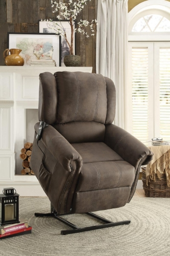 Iola Power Lift Chair - Polyester - Dark Brown
