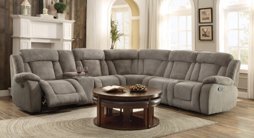 Calumet Ridge Reclining Sectional Sofa Set - Polyester - Taupe