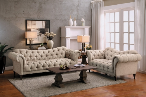 St. Claire Sofa Set - Polyester - Brown Tone