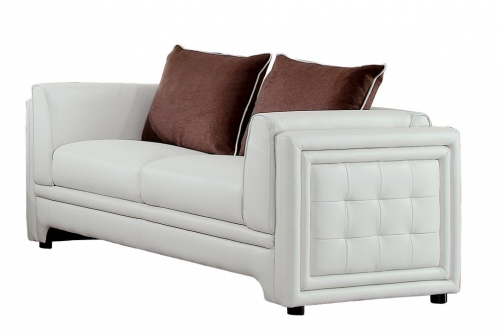 Azure Love Seat - Faux Leather - Off White