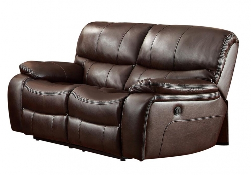 Pecos Power Double Reclining Love Seat - Leather Gel Match - Dark Brown