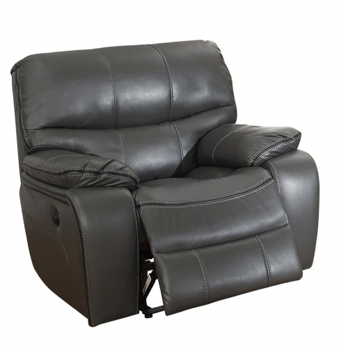 Pecos Power Reclining Chair - Leather Gel Match - Grey