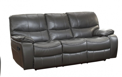 Pecos Double Reclining Sofa - Leather Gel Match - Grey