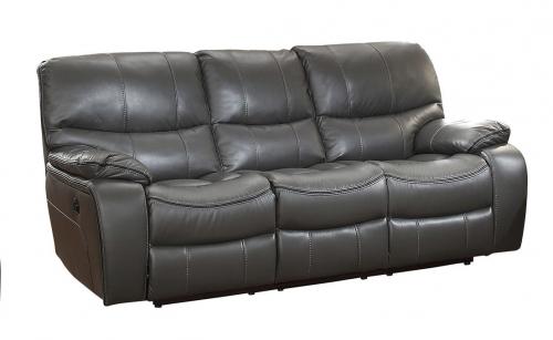 Pecos Power Double Reclining Sofa - Leather Gel Match - Grey