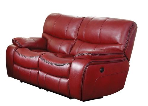 Pecos Power Double Reclining Love Seat - Leather Gel Match - Red