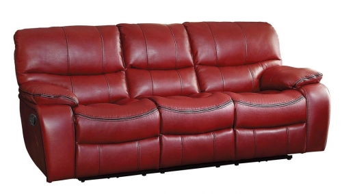 Pecos Double Reclining Sofa - Leather Gel Match - Red