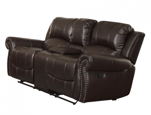 Annapolis Double Glider Reclining Love Seat with Center Console - Leather Gel Match - Dark Brown