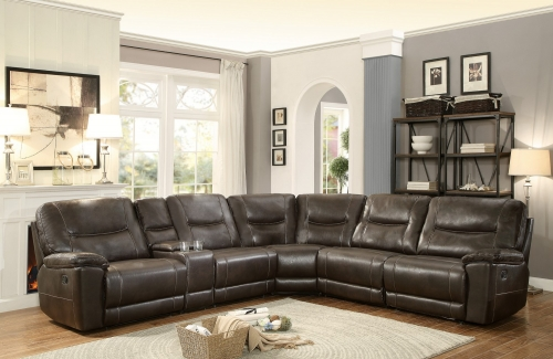 Columbus Reclining Sectional Sofa Set D - Breathable Faux Leather - Dark Brown
