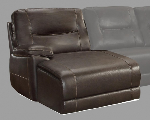 Homelegance Columbus Left Side Chaise, Push Back Recliner - Breathable Faux Leather - Dark Brown