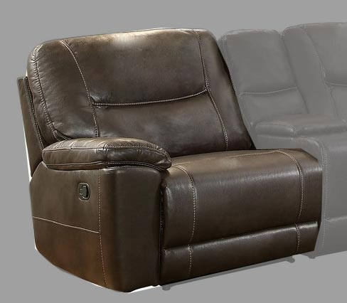 Columbus Left Side Reclining Chair - Breathable Faux Leather - Dark Brown
