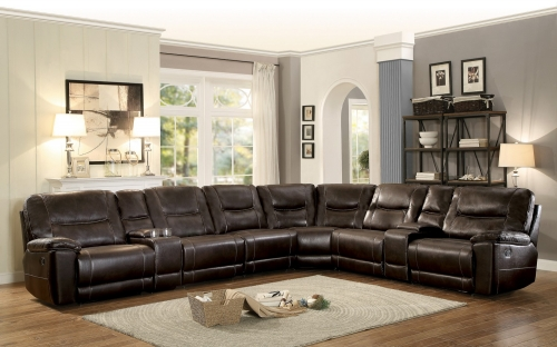 Columbus Reclining Sectional Sofa Set A - Breathable Faux Leather - Dark Brown