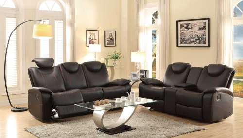 Talbot Reclining Sofa Set - Black Bonded Leather