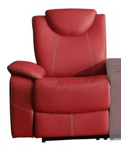 Talbot Left Side Reclining Chair - Bonded Leather Match - Red