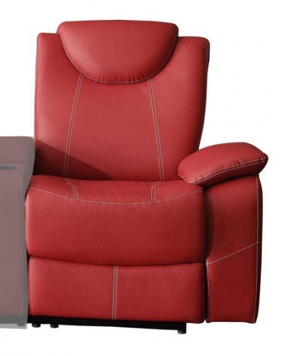 Talbot Right Side Reclining Chair - Bonded Leather Match - Red