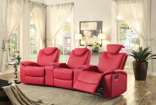 Talbot Reclining Theater Seating - Bonded Leather Match - Red