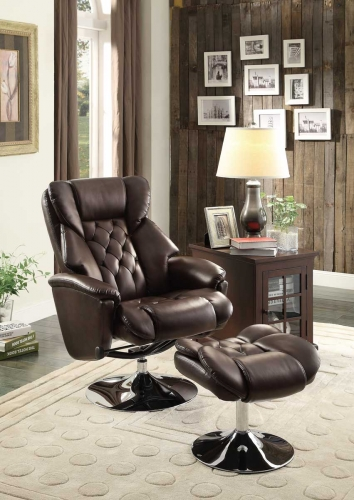 Aleron Swivel Reclining Chair with Ottoman - Dark Brown Bonded Leather Match