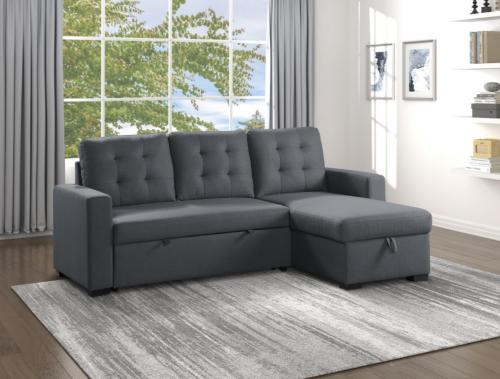 Cornish 2-Piece Reversible Sectional with Pull-out Bed and Hidden Storage