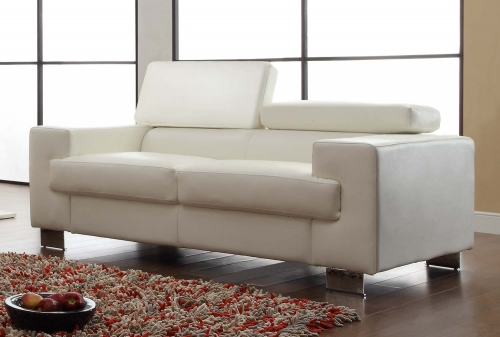 Vernon Love Seat - White - Bonded Leather