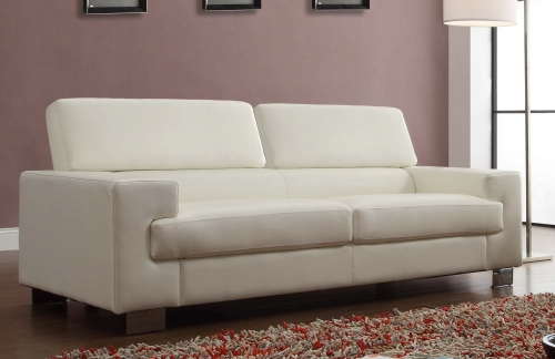 Vernon Sofa - White - Bonded Leather
