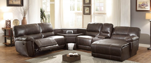Blythe II Power Sectional Sofa - Dark Brown