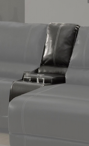 Cale Console - Black - Bonded Leather Match