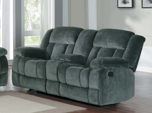 Laurelton Double Glider Reclining Love Seat with Center Console - Charcoal - Textured Plush Microfiber