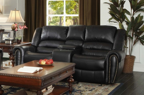Center Hill Double Glider Reclining Love Seat with Center Console - Black Bonded Leather Match