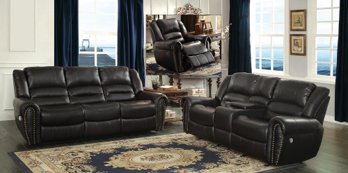Center Hill Power Reclining Sofa Set - Black