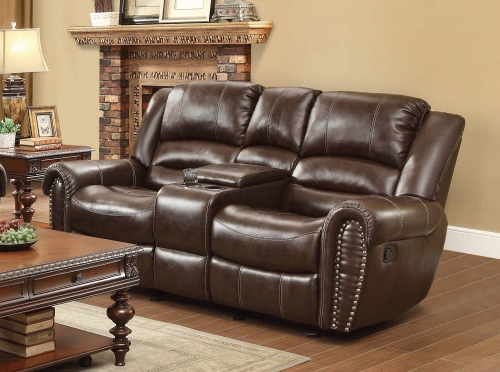 Center Hill Double Glider Reclining Love Seat with Center Console - Dark Brown Bonded Leather Match