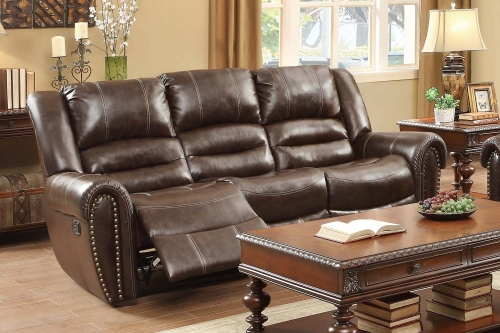Center Hill Double Reclining Sofa- Dark Brown Bonded Leather Match