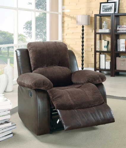 Cranley Reclining Chair - Chocolate - Textured Plush Microfiber & Bi-Cast Vinyl