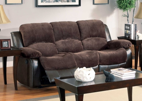 Cranley Sofa Dual Recliner - Chocolate - Textured Plush Microfiber & Bi-Cast Vinyl