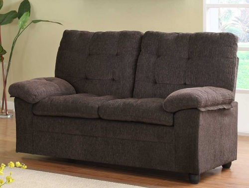 Charley Love Seat - Chocolate Chenille